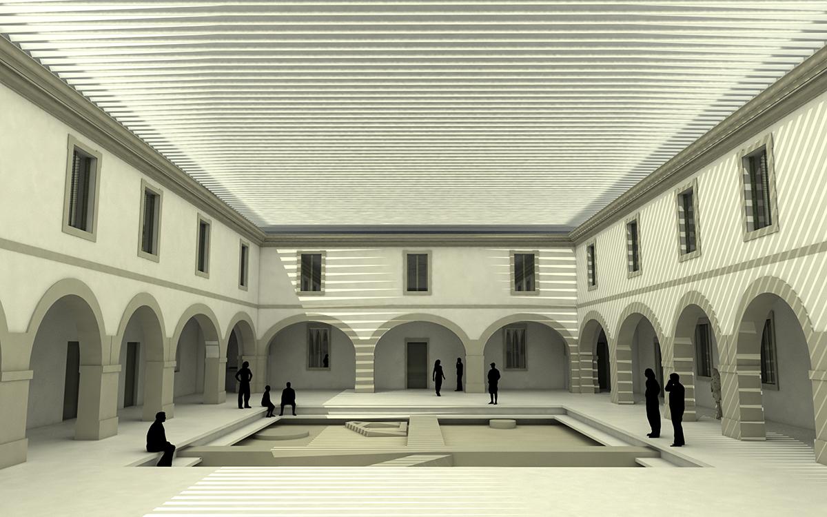 Recreación incluída no proxecto gañador en 2013 para transformar o cuartel en Museo da Romanización | Buj Colón Arquitectos