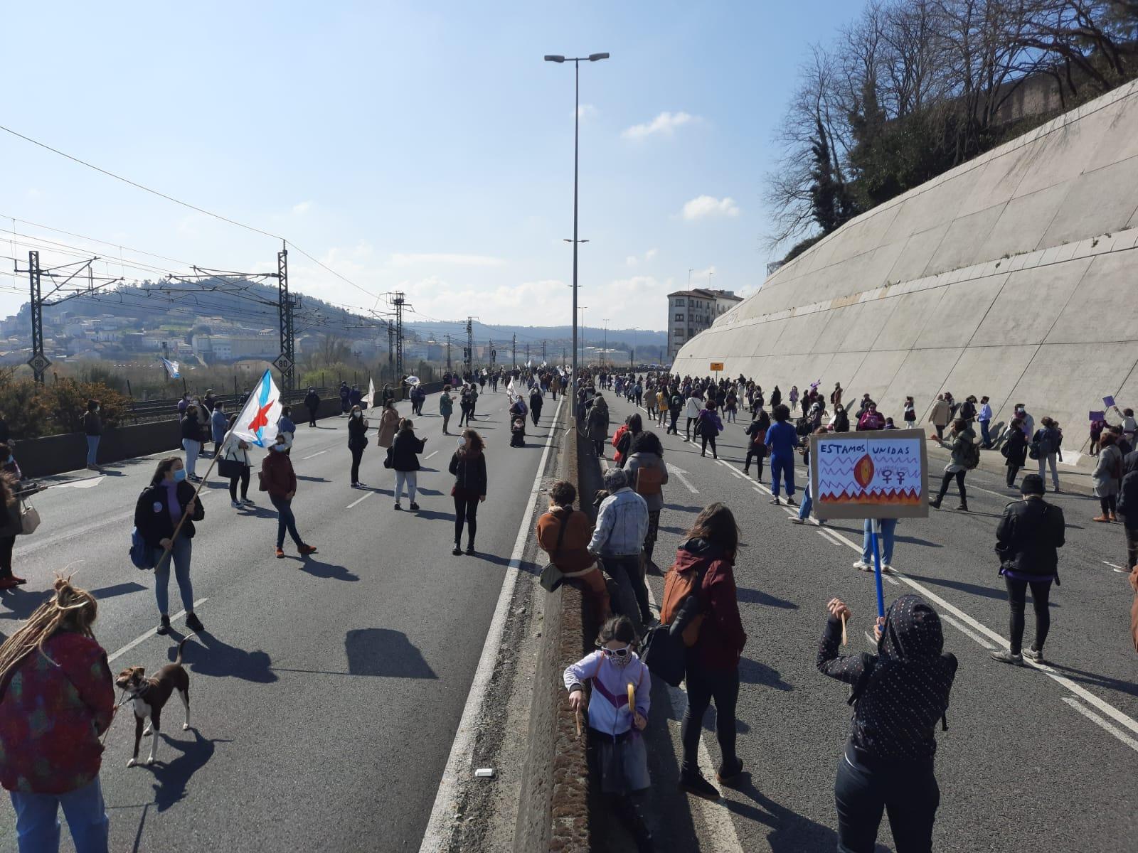 Manifestación en Compostela 8M 2021 convocada pola CIG