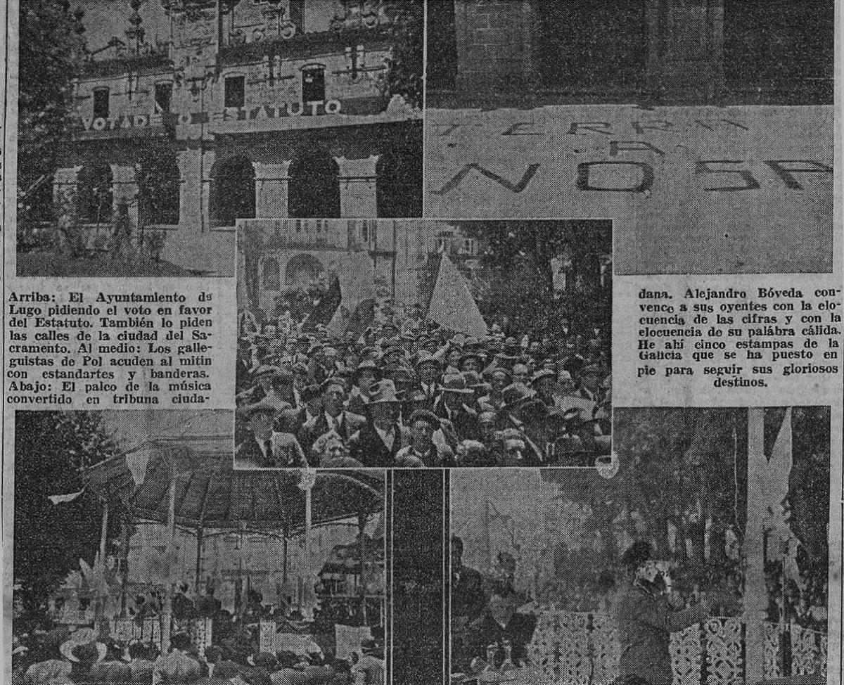 Imaxes da Praza da República de Lugo -actual Praza Maior- durante os actos a prol do Estatuto o 11 de xuño de 1936