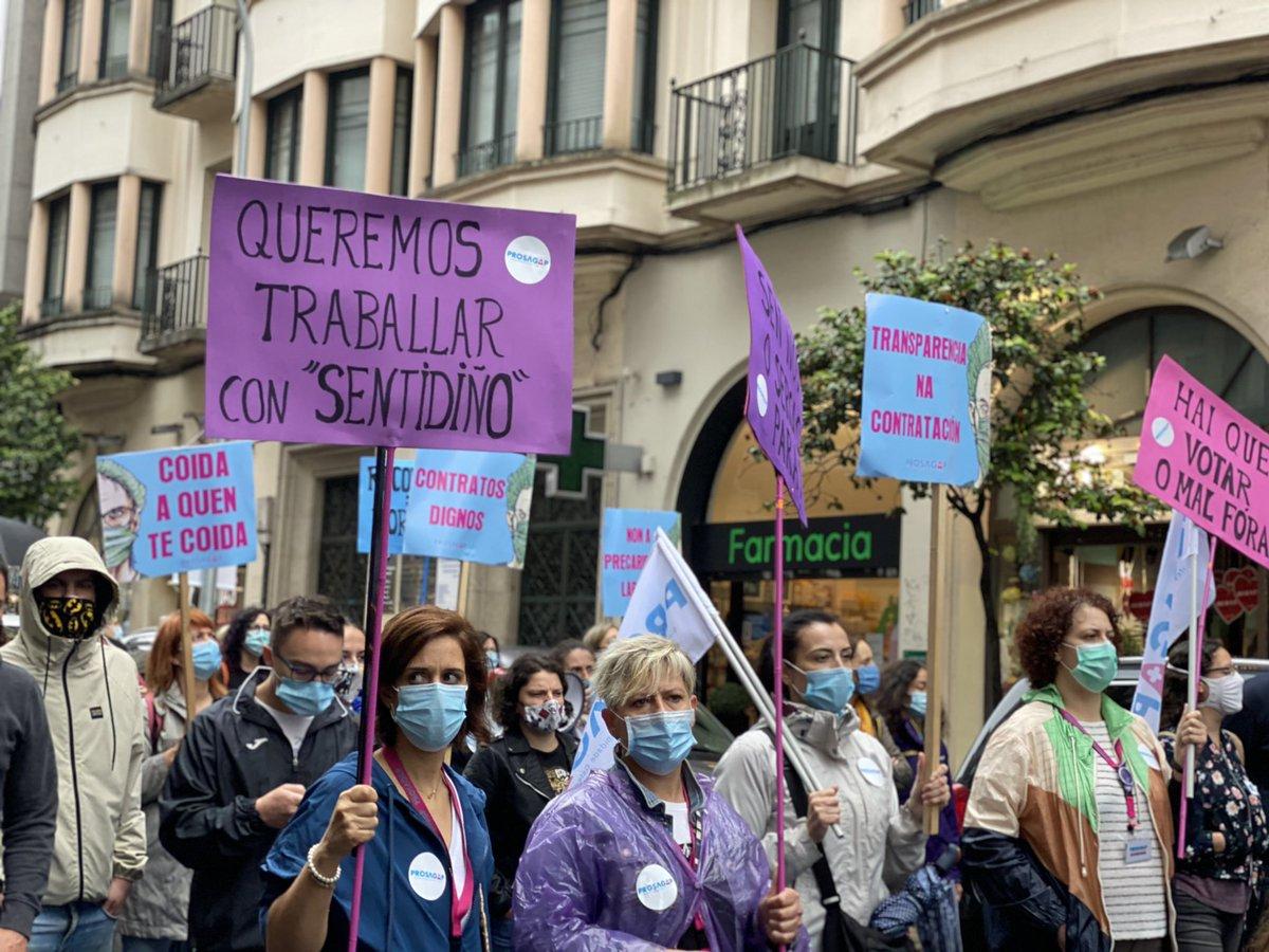 Membros do sindicato PROSAGAP, na manifestación contra a precariedade no Sergas
