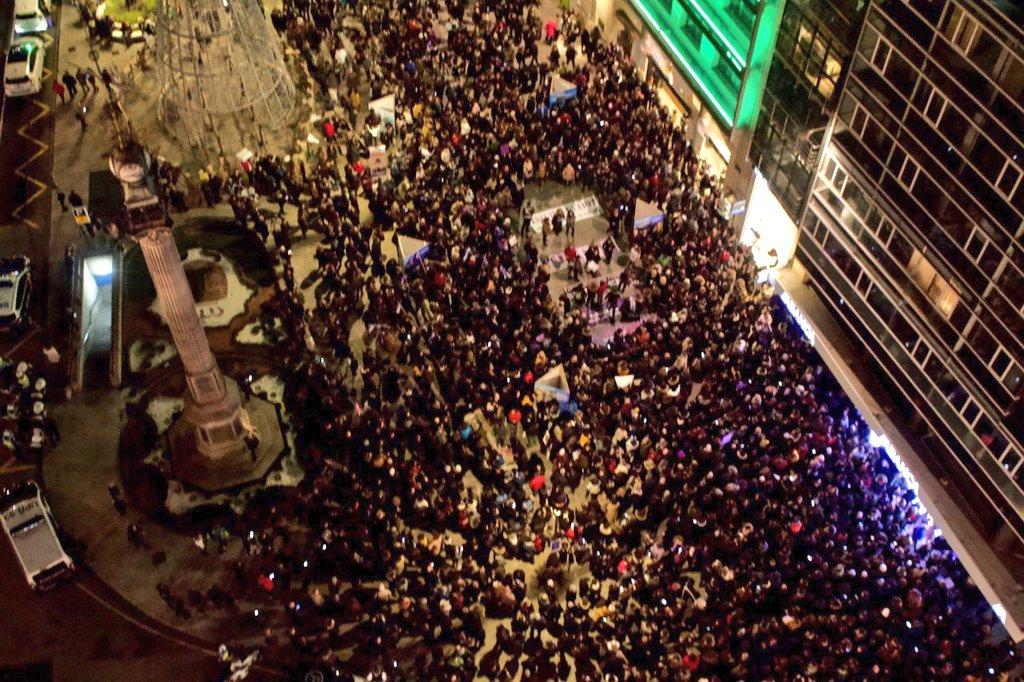 Vista da manifestación contra a violencia machista, no Obelisco da Coruña neste 25N do 2019   MA