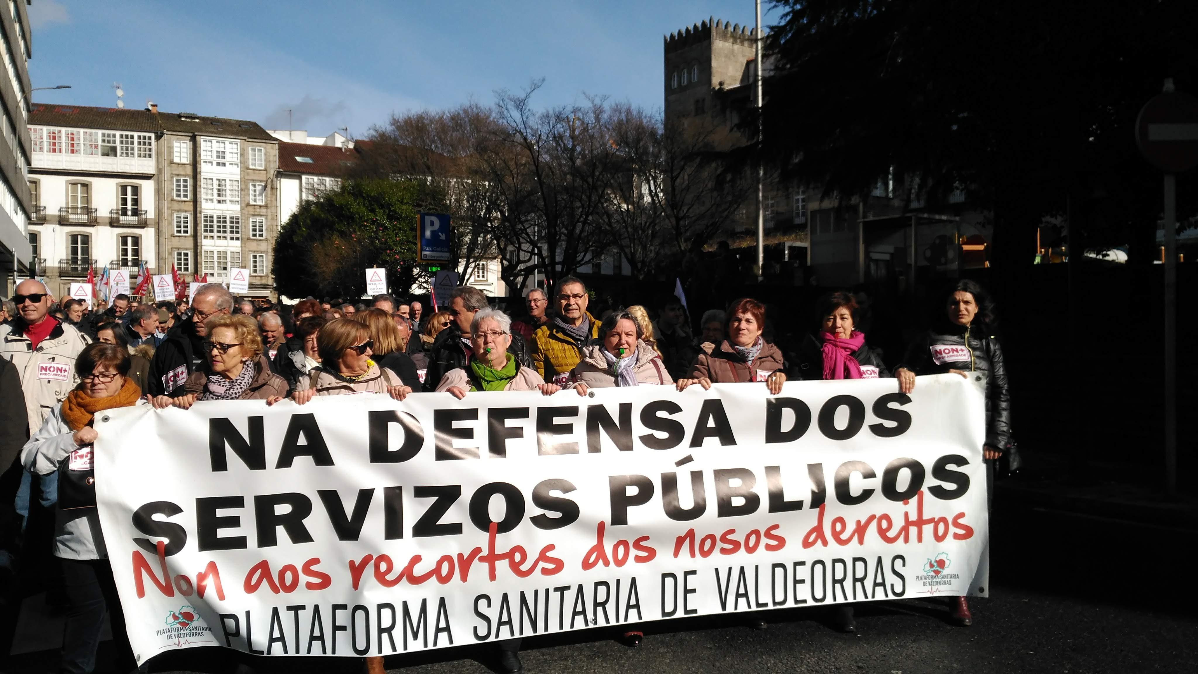 Comitiva de Valdeorras na manifestación pola sanidade pública