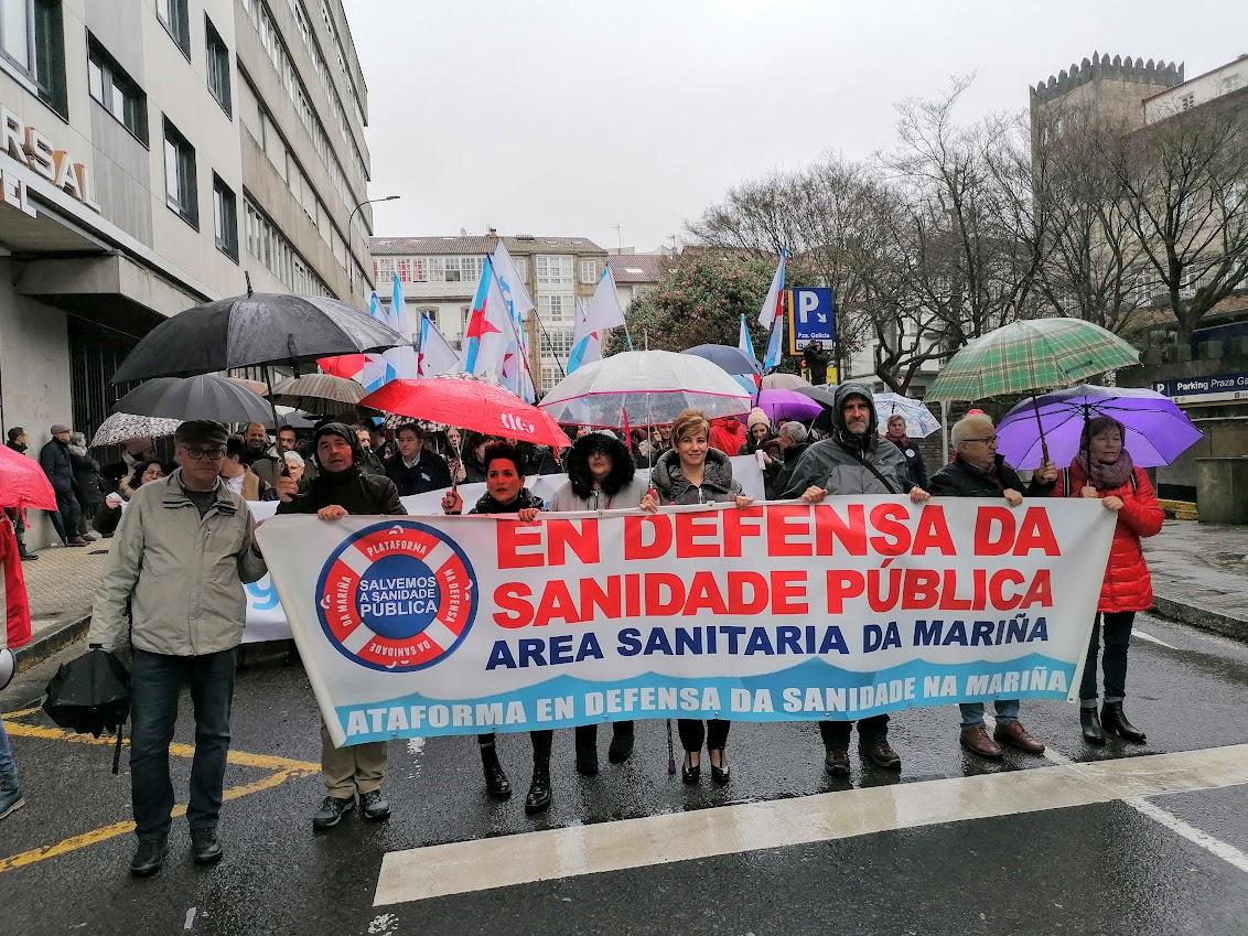 Comitiva da Mariña na manifestación a prol da sanidade pública, o 9 de febreiro de 2020