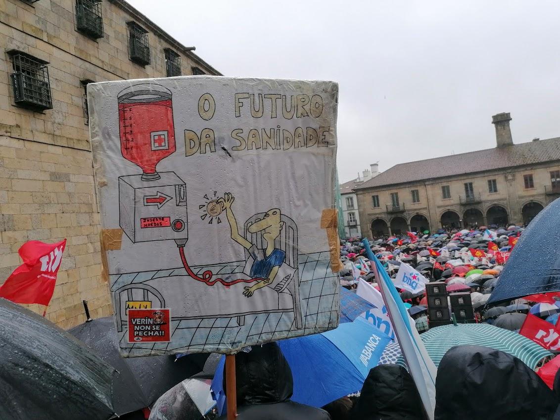 Cartel no remate da manifestación a prol da sanidade pública, o 10 de febreiro de 2020