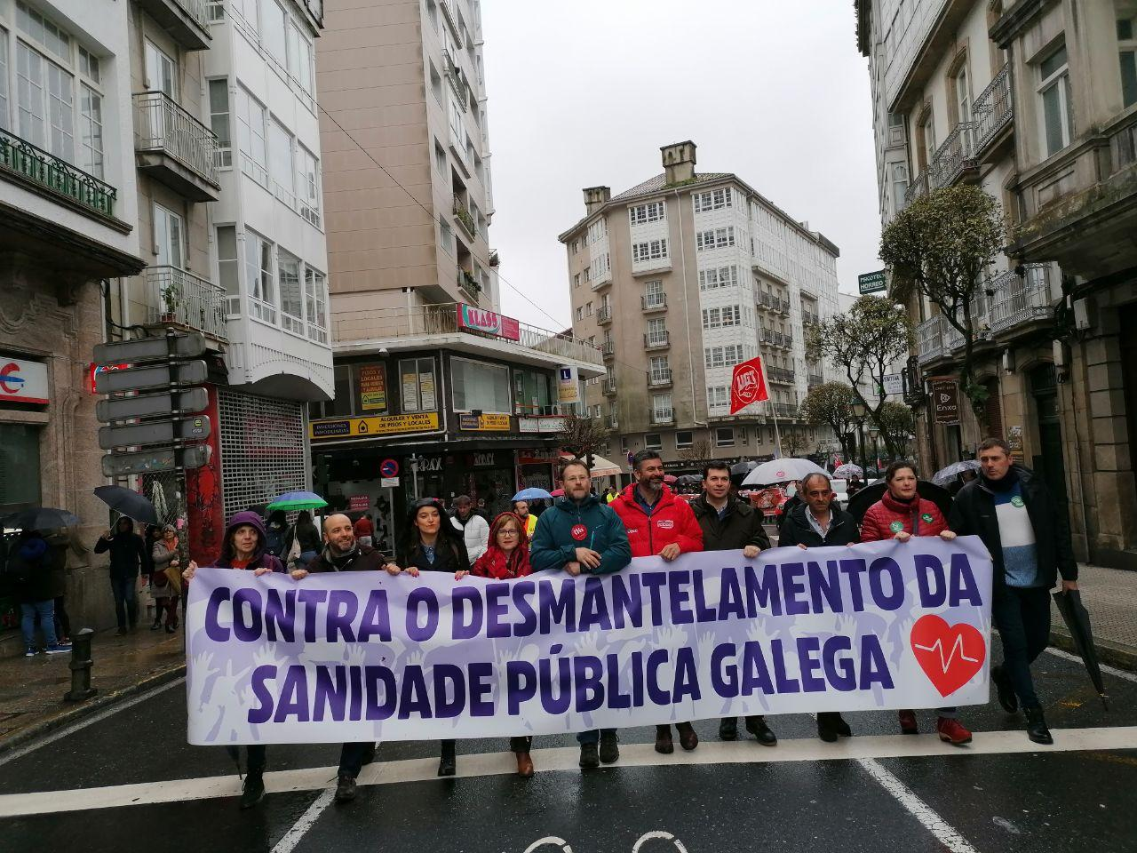 Manifestación pola sanidade pública en Santiago