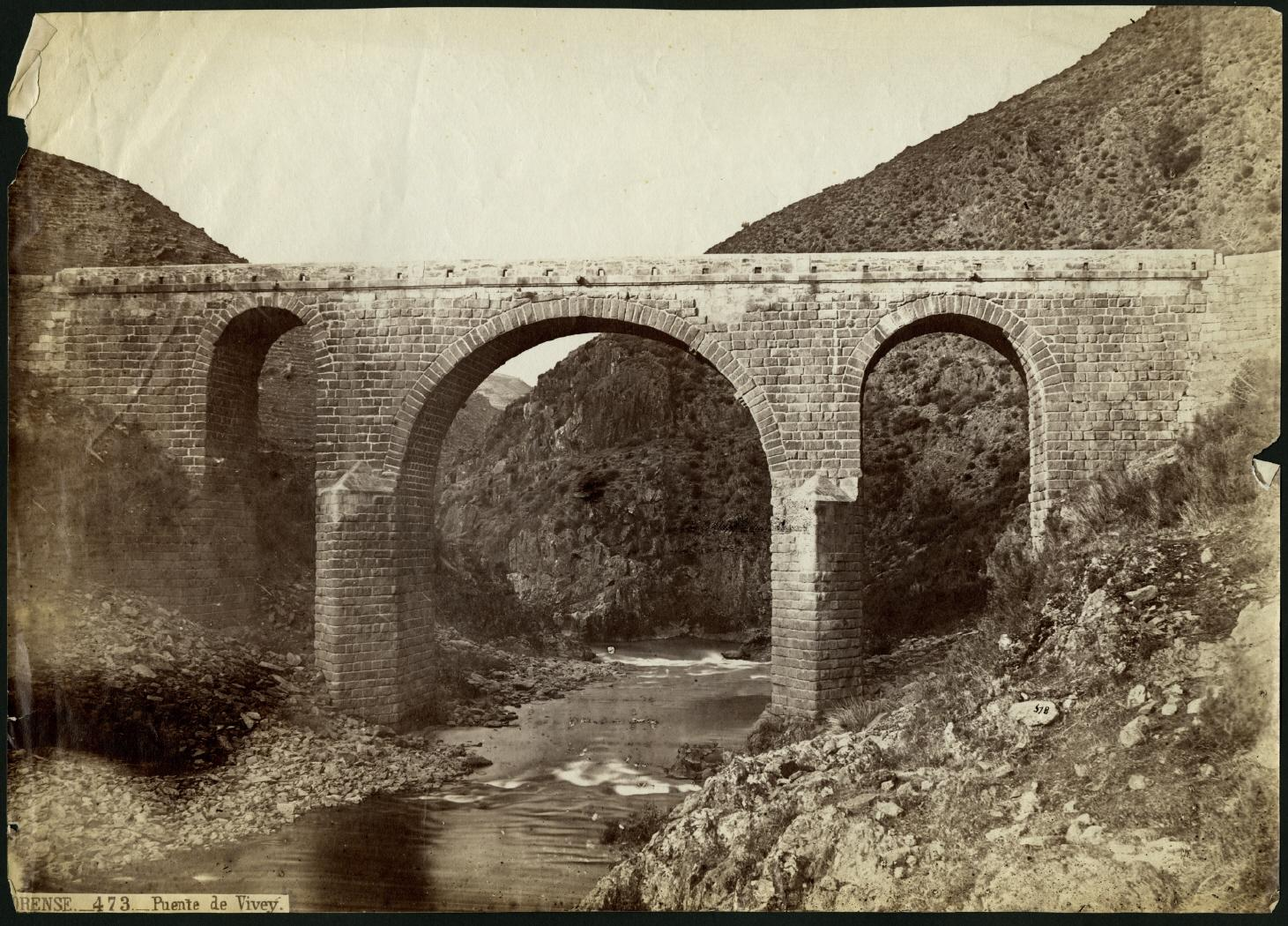 Ponte sobre o río Bibei a finais do século XIX