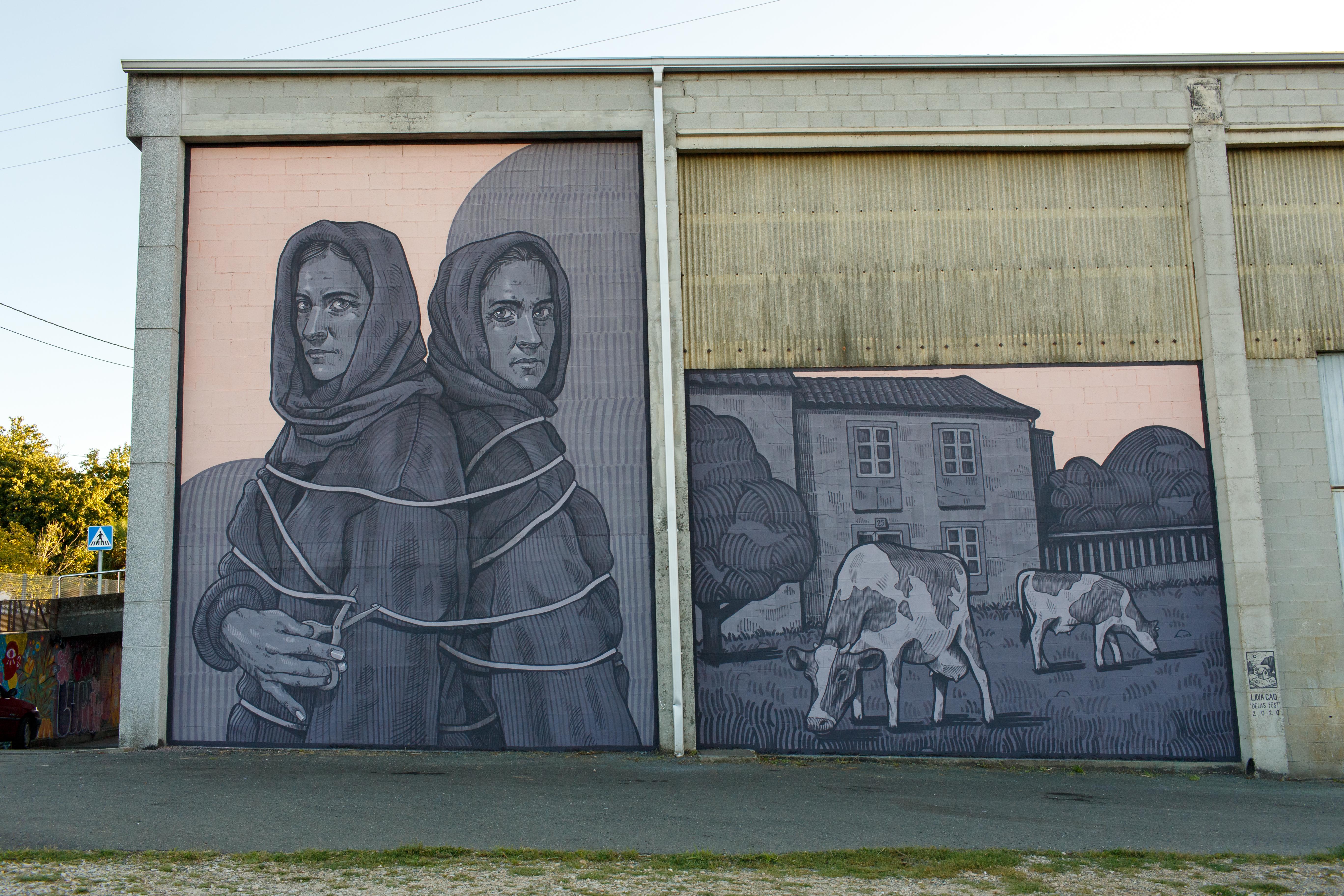 Aspecto do mural de Lidia Cao, rematado, no pavillón deportivo de Calo (Teo) para o Delas Fest 2020