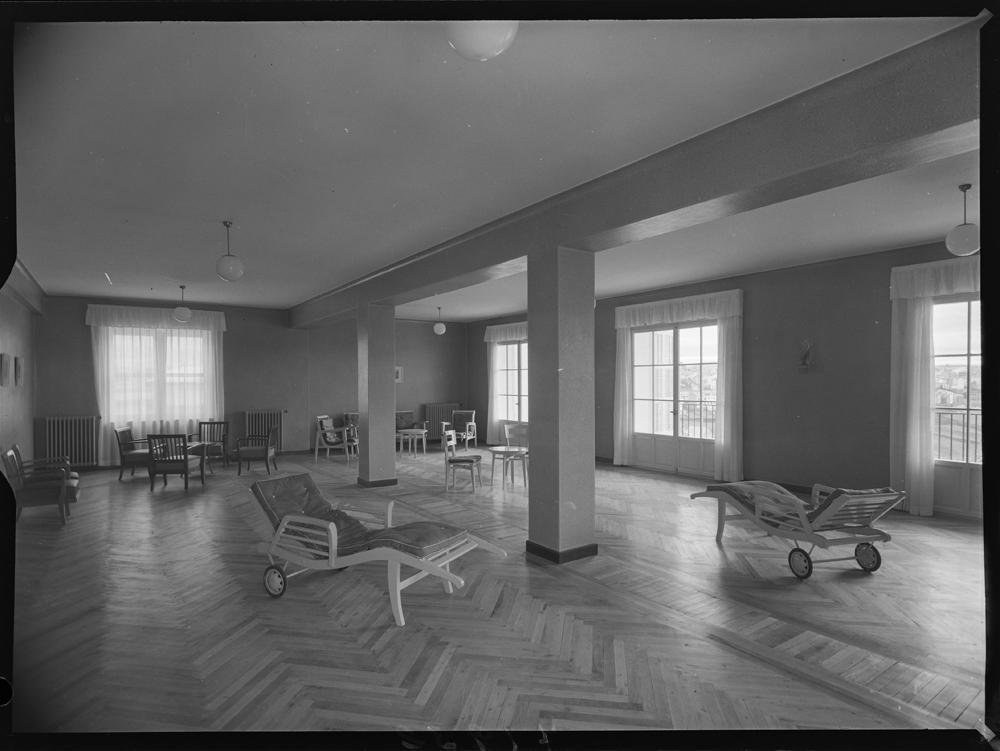 Sala na Residencia sanitaria de Lugo. 1957. Arquivo Pando