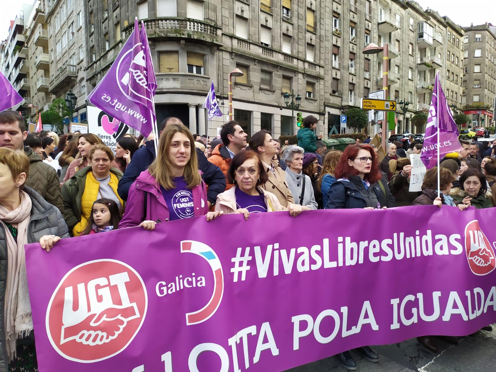 Manifestación vespertina do 8M de 2020 en Vigo nunha imaxe de @UGT_Galicia