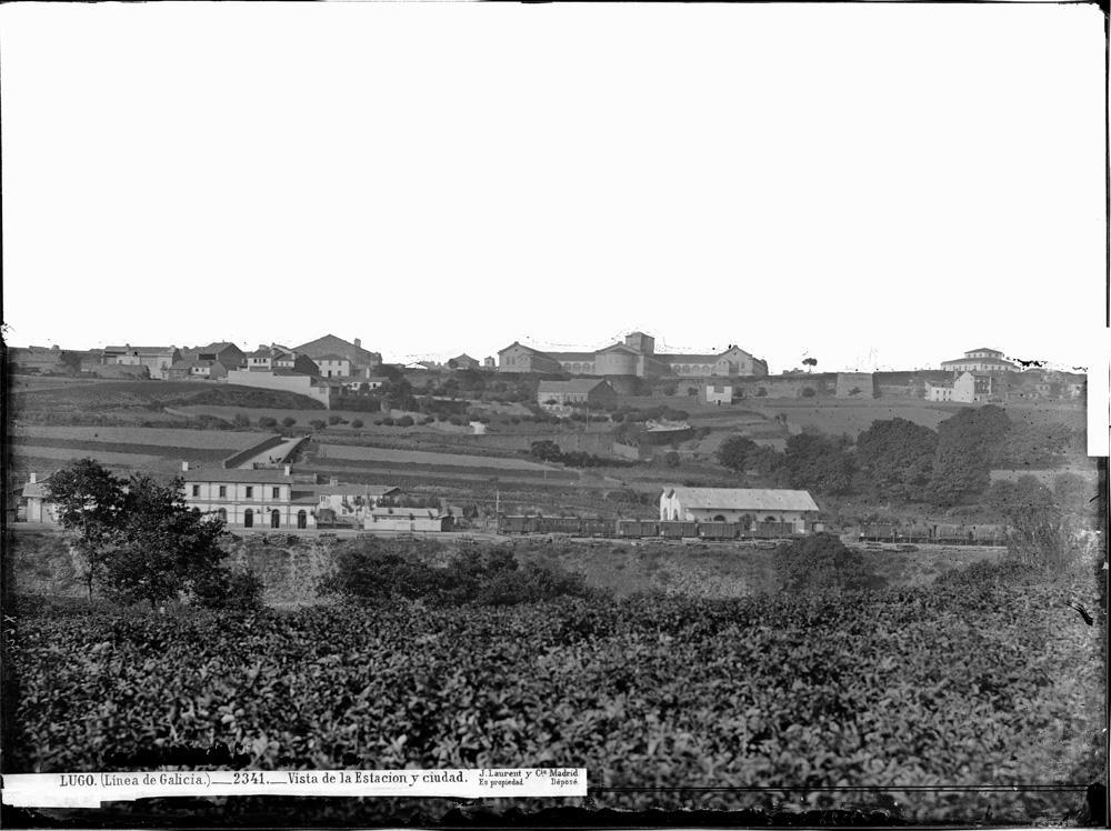 Estación de tren de Lugo e vista xeral da cidade a finais do século XIX