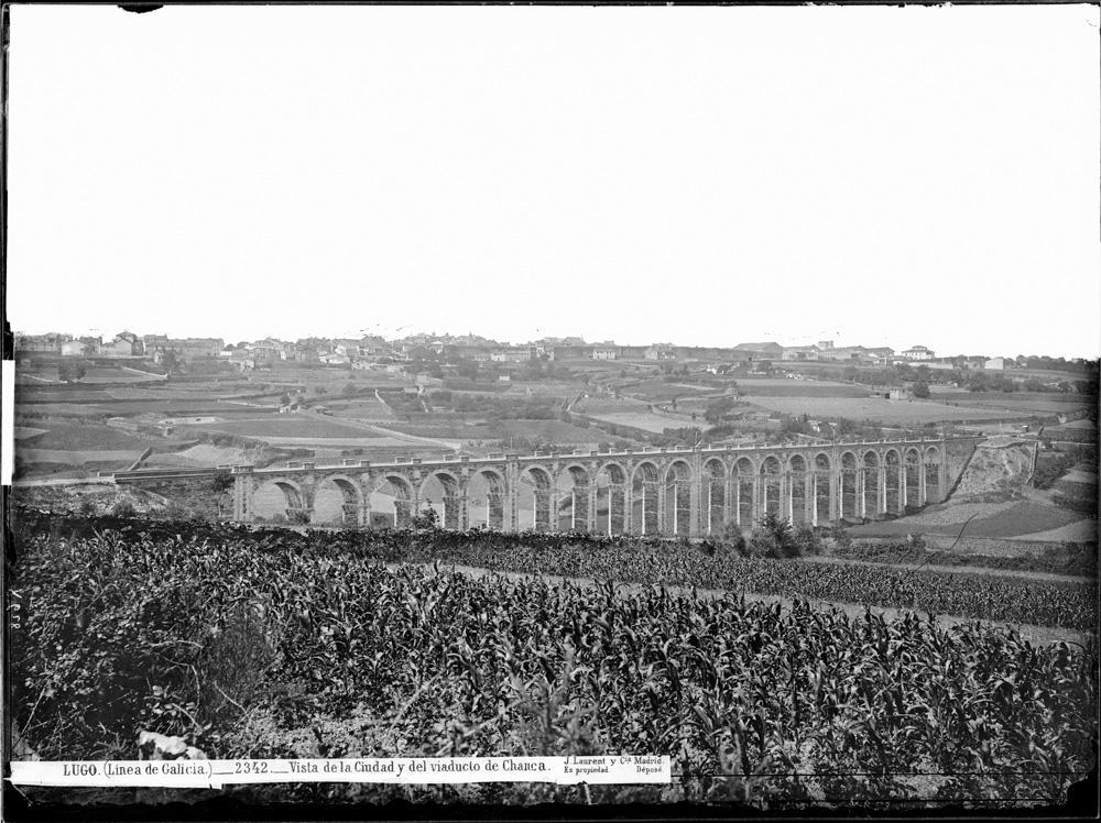 Viaduto de Chanca e vista xeral da cidade de Lugo a finais do século XIX
