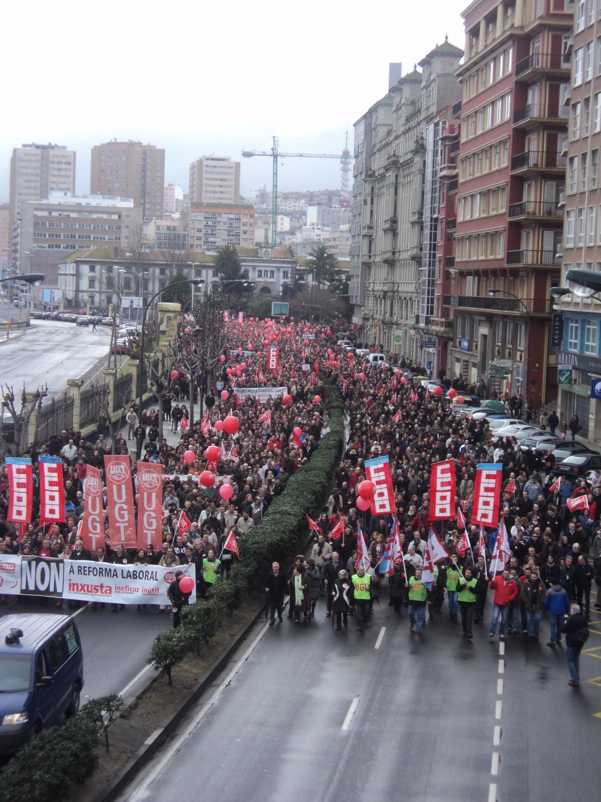 Un intre da manifestación na Coruña