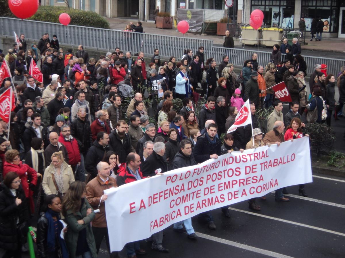 Traballadores da fábrica de armas na Coruña, na protesta