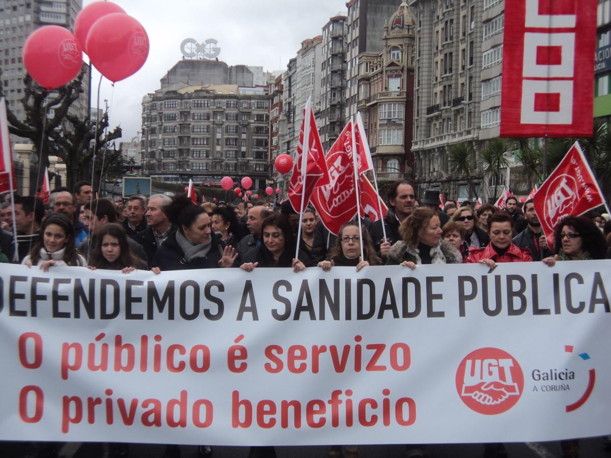 Pancarta a prol da sanidade pública, na Coruña