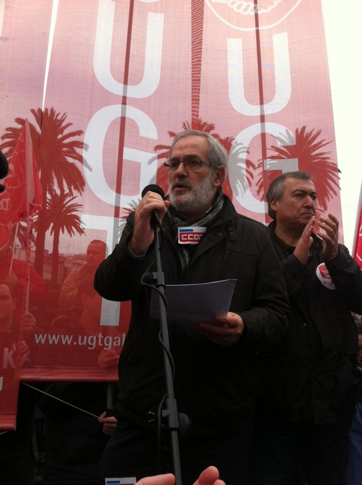 Xosé Manuel Sánchez Aguión, na protesta da Coruña