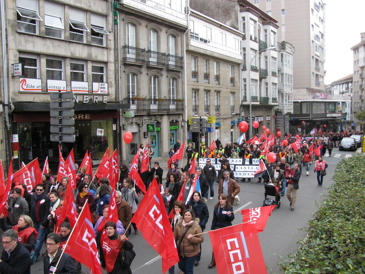 Manifestación na Praza de Galicia, en Santiago