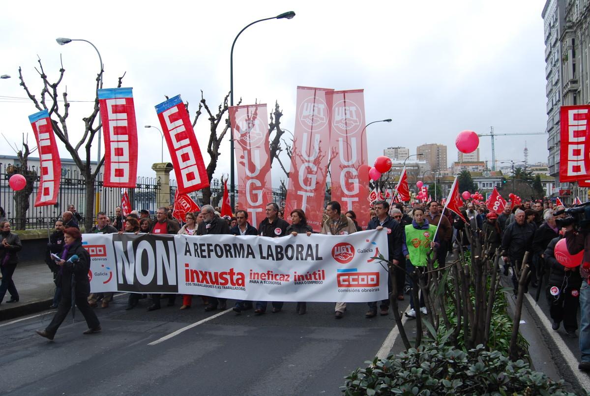 Cabeceira da marcha na Coruña