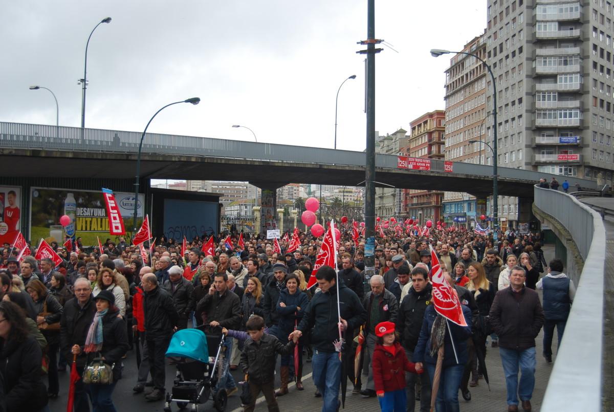 Aspecto da protesta na Coruña