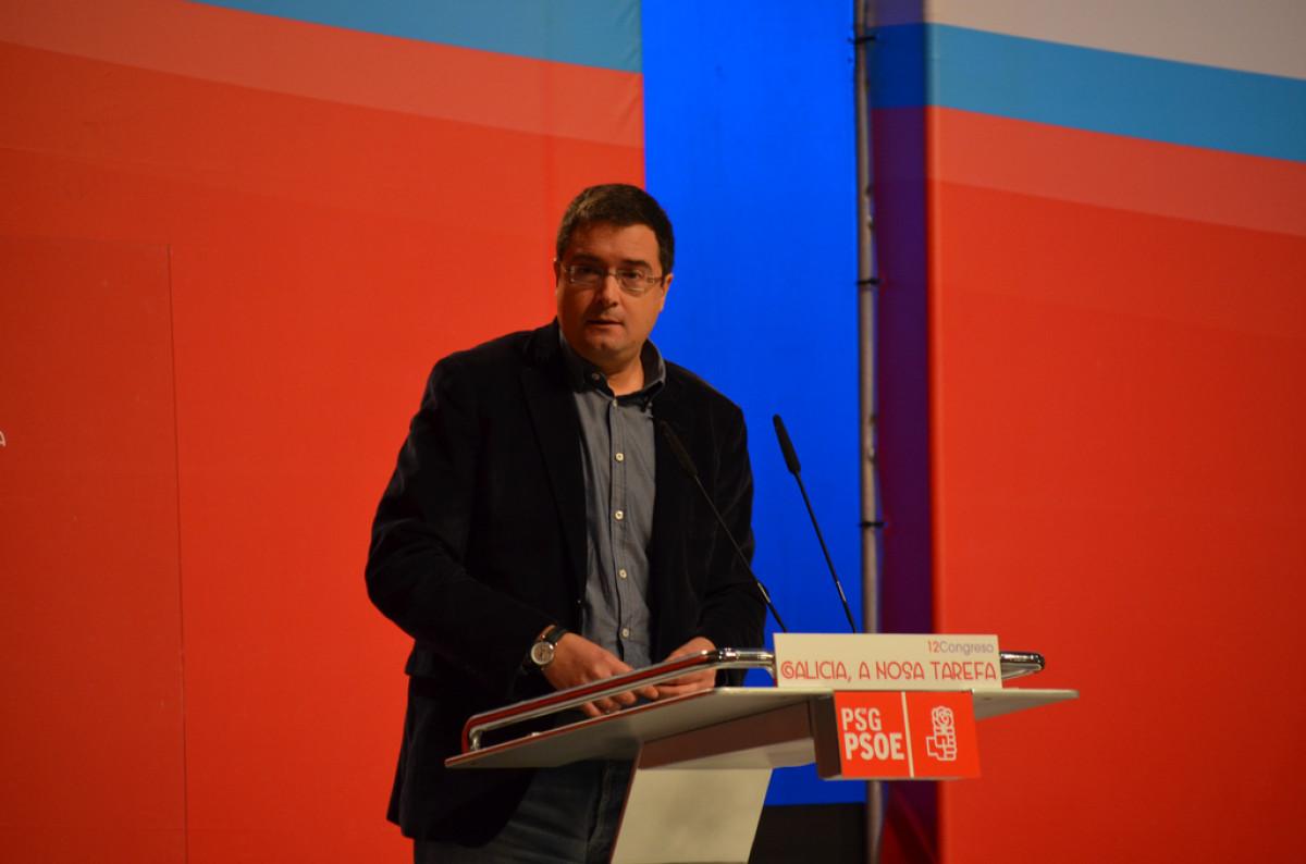 O secretario de organización do PSOE, Óscar López, na sesión de apertura