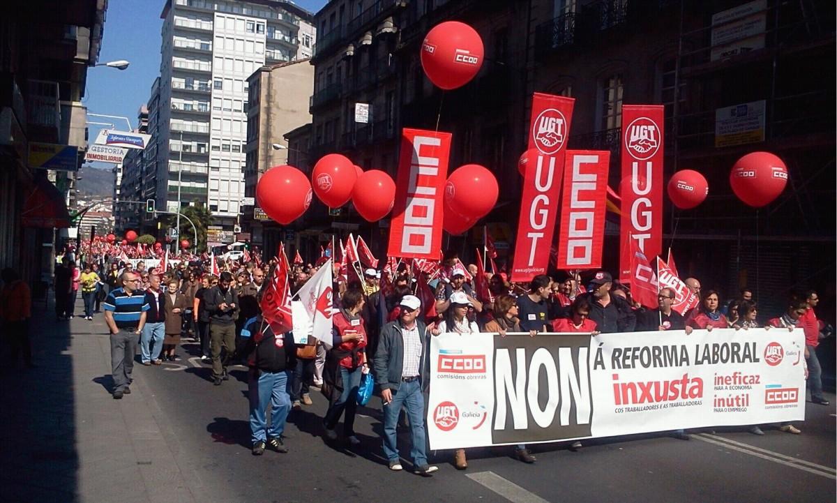 Manifestación de CC.OO. e UGT en Ourense