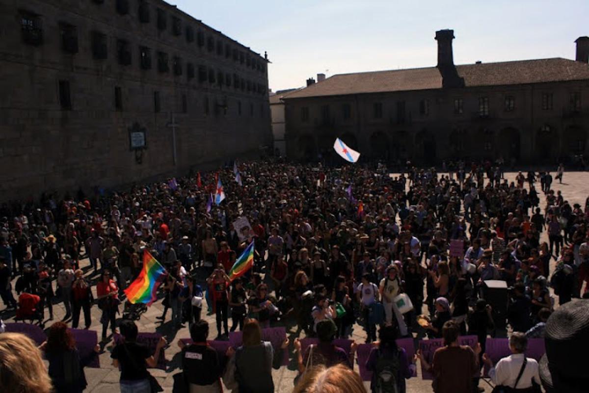 A manifestación rematou na Praza da Quintana