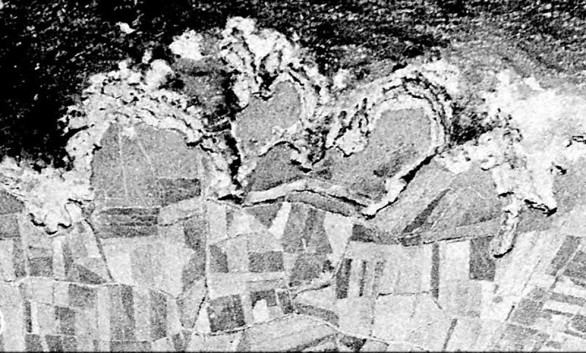 Imaxe aérea do ano 57 tomada por un avión norteamericano