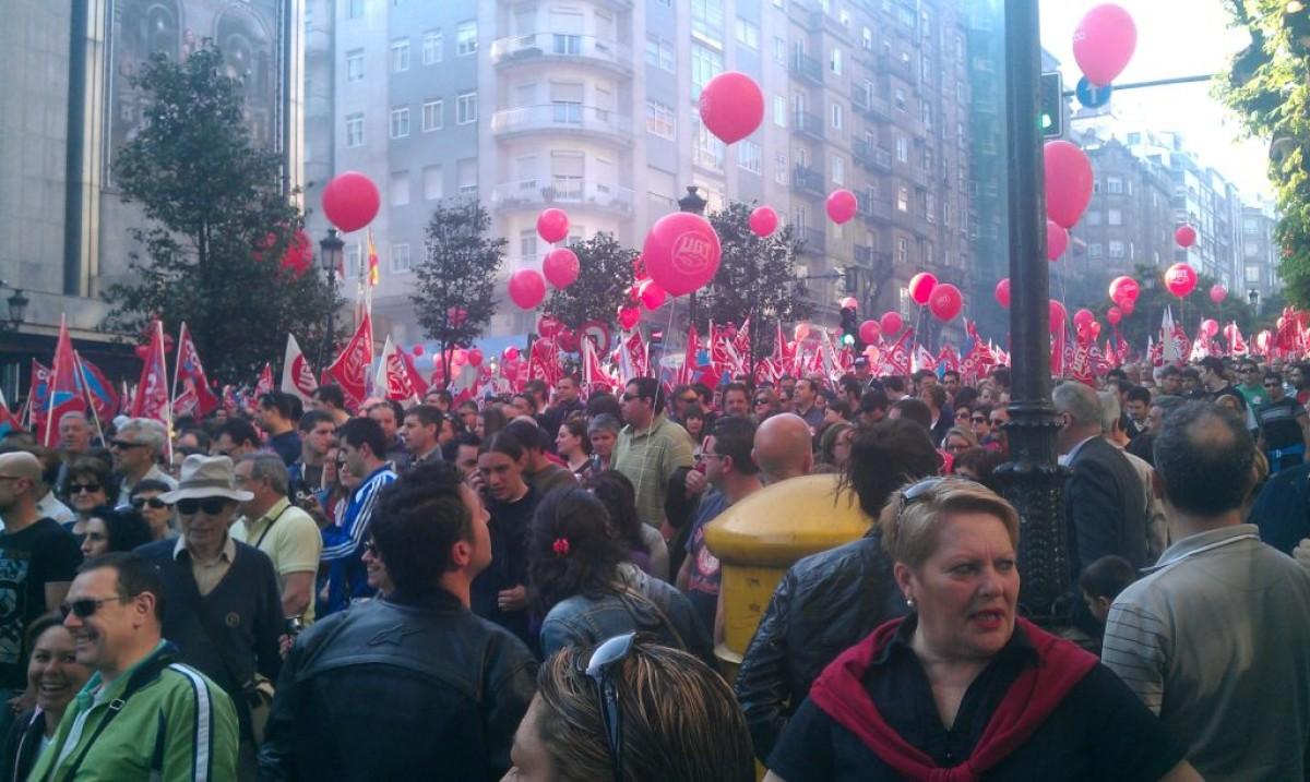 Unha das marchas de CCOO e UGT