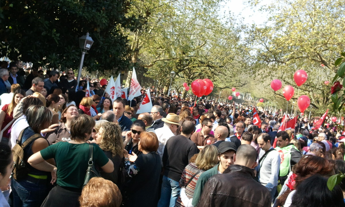 Inicio da manifestación de CCOO e UGT en Santiago