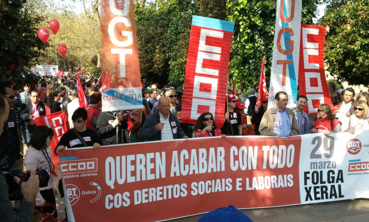 Cabeceira de CCOO e UGT en Santiago