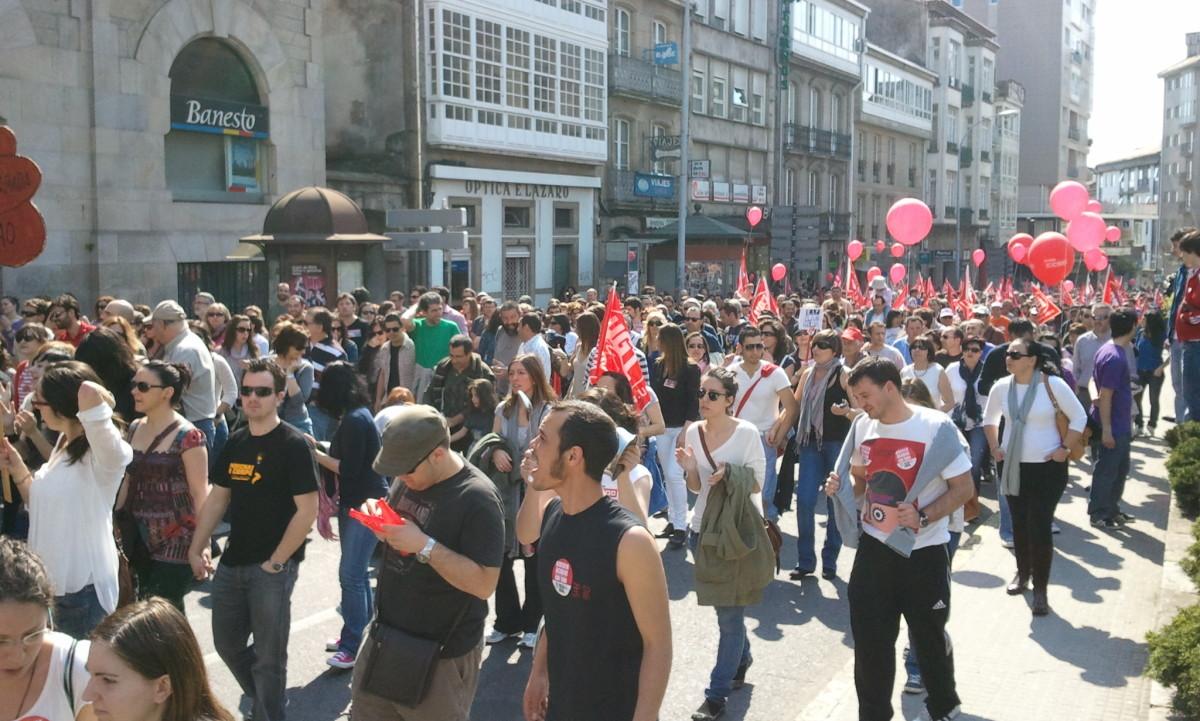 CCOO e UGT, na Praza de Galicia, en Santiago