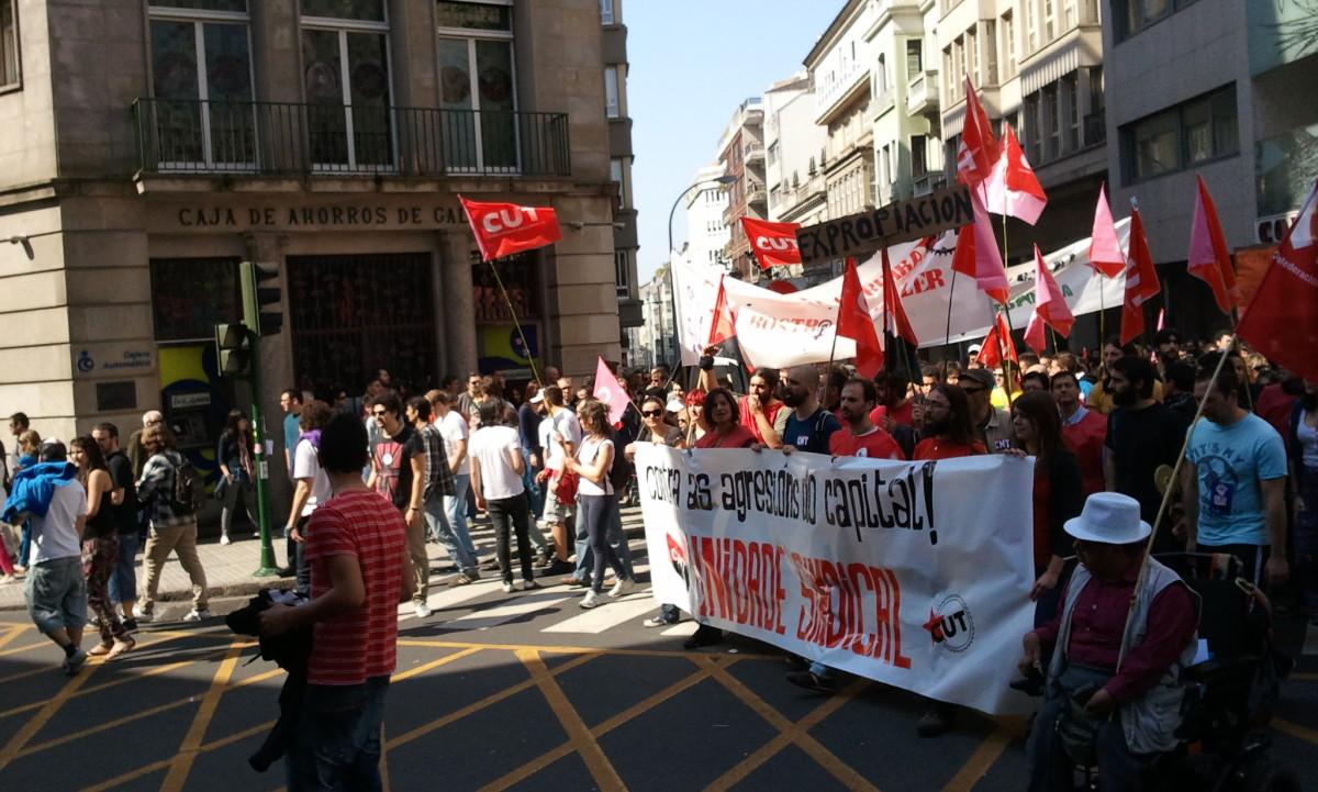 Comitiva da CUT en Compostela