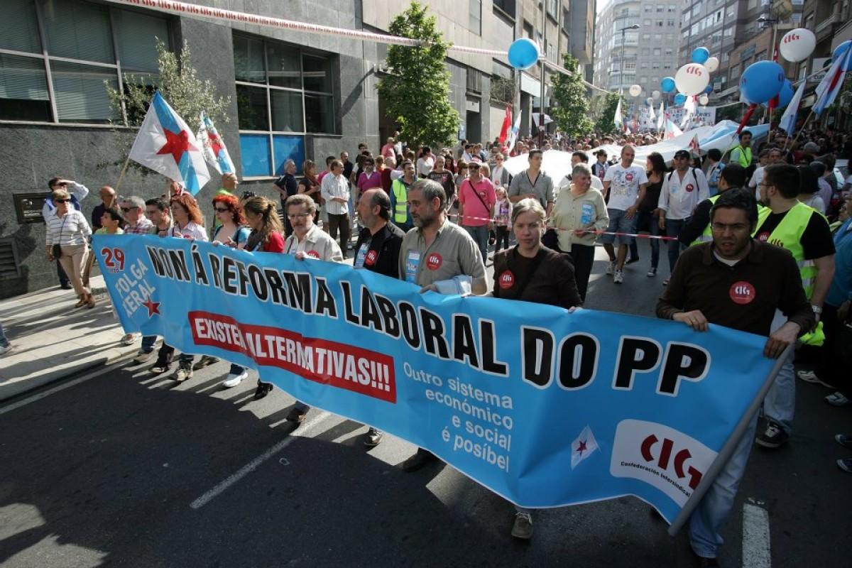 Faixa da CIG en Vigo, na pasada folga xeral