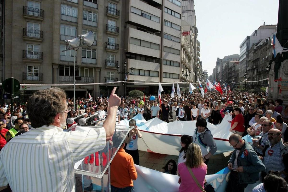 Suso Seixo, ao remate da marcha de Vigo