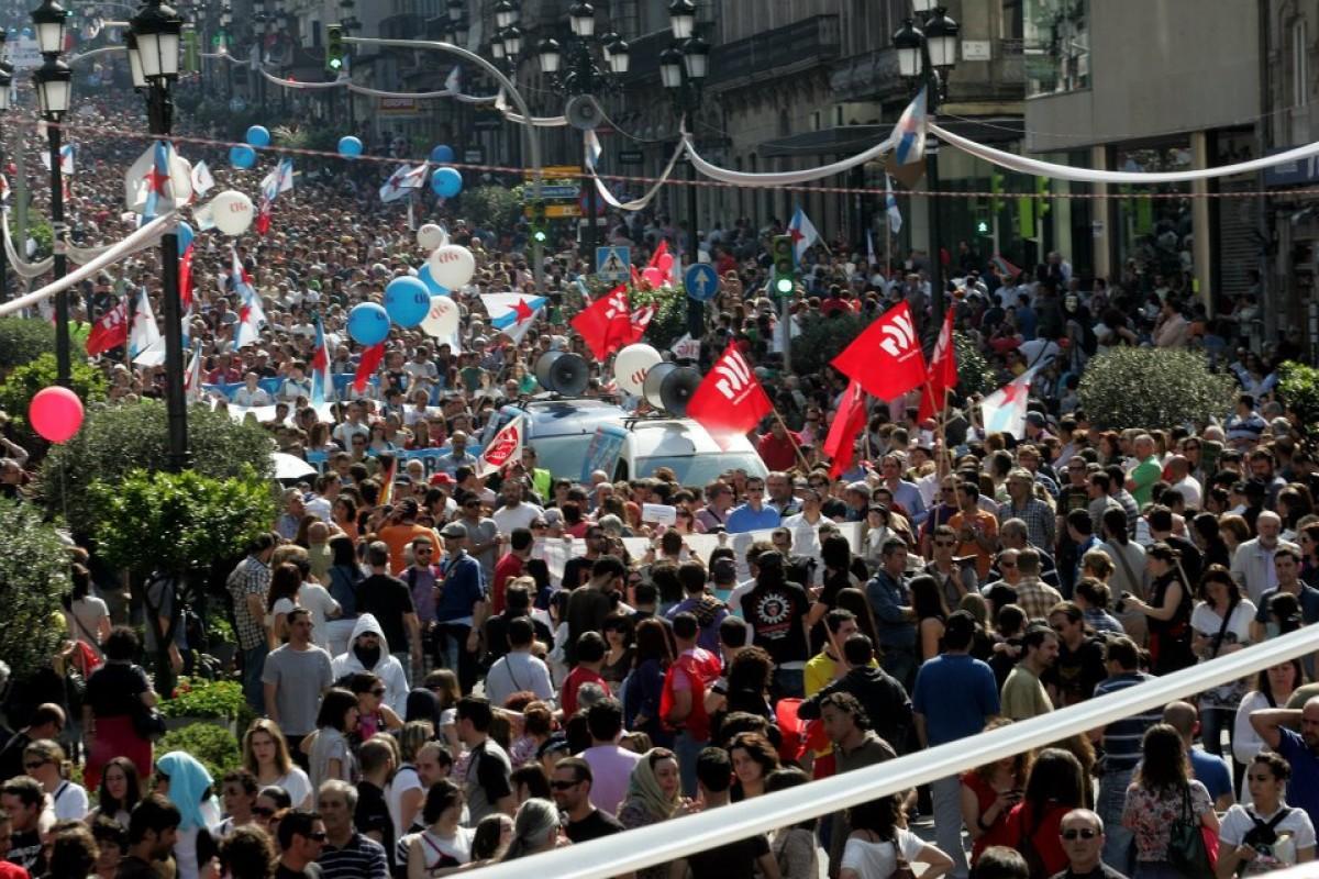 A manifestación da CIG, no centro de Vigo