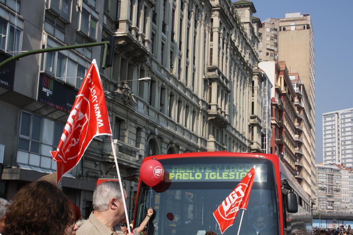'Pablo Iglesias', na protesta de CCOO e UGT na Coruña