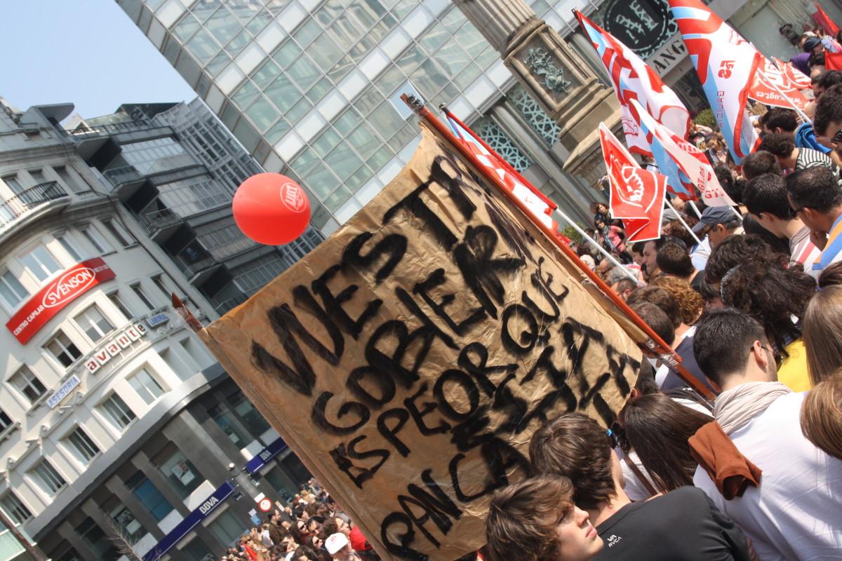 Pancarta con retranca na Coruña