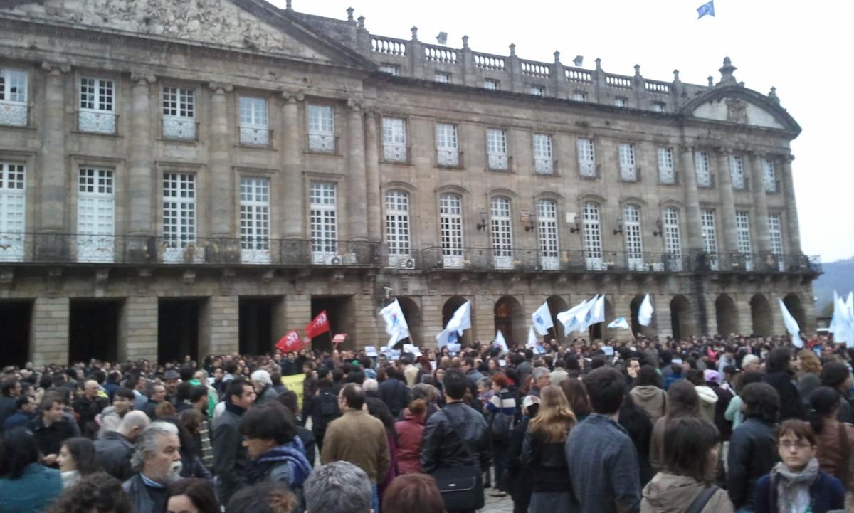 Un intre da concentración en Compostela