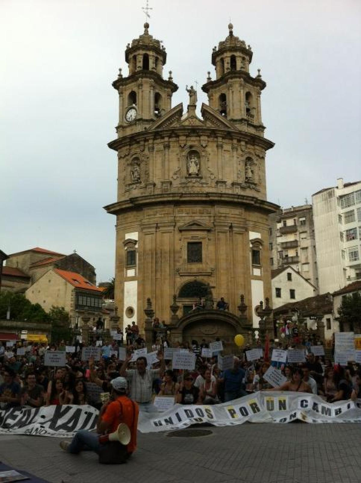 Parada na Praza da Peregrina, en Pontevedra