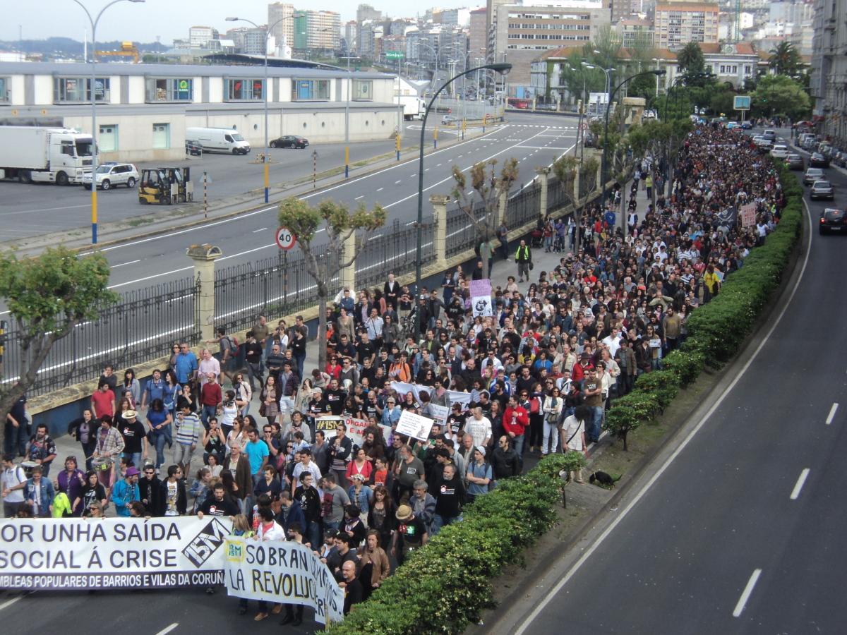 Multitude na Coruña, dende o inicio da protesta