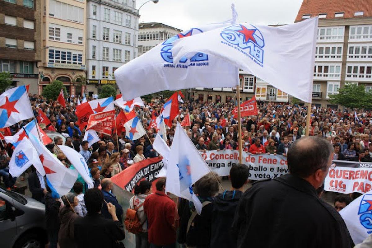 Membros do BNG no remate da marcha