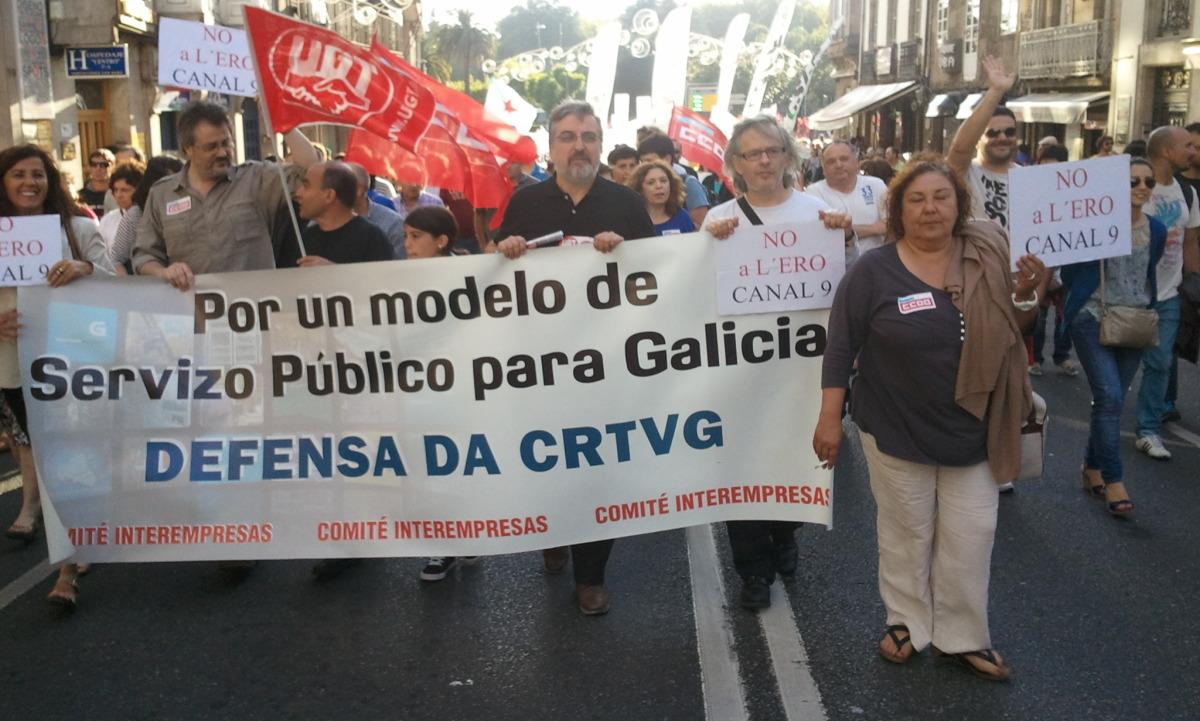 Persoal da CRTVG, nunha manifestación contra os recortes