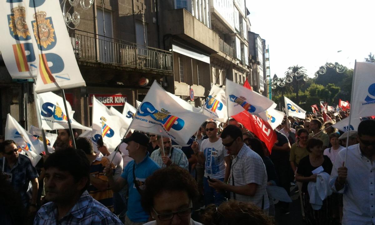 O sindicato policial SUP, na marcha de Santiago