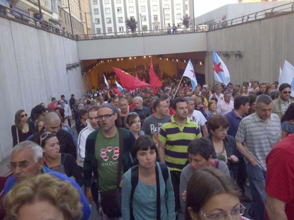 A protesta, na Praza de España de Ferrol