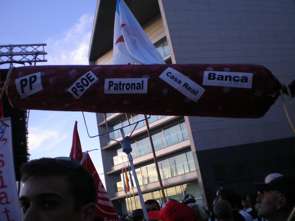 Detalle da protesta en Vigo