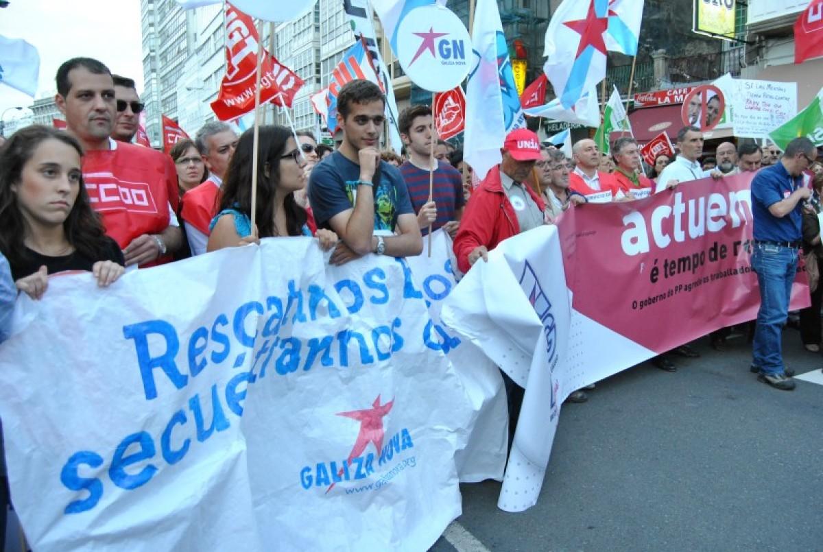 Comitiva de Galiza Nova na Coruña