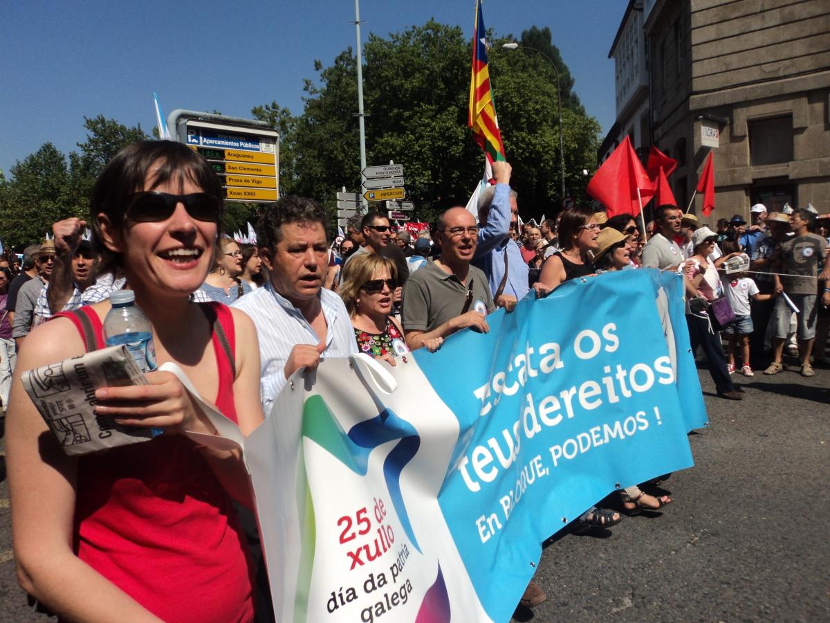 Dirixentes nacionalistas, á fronte da marcha
