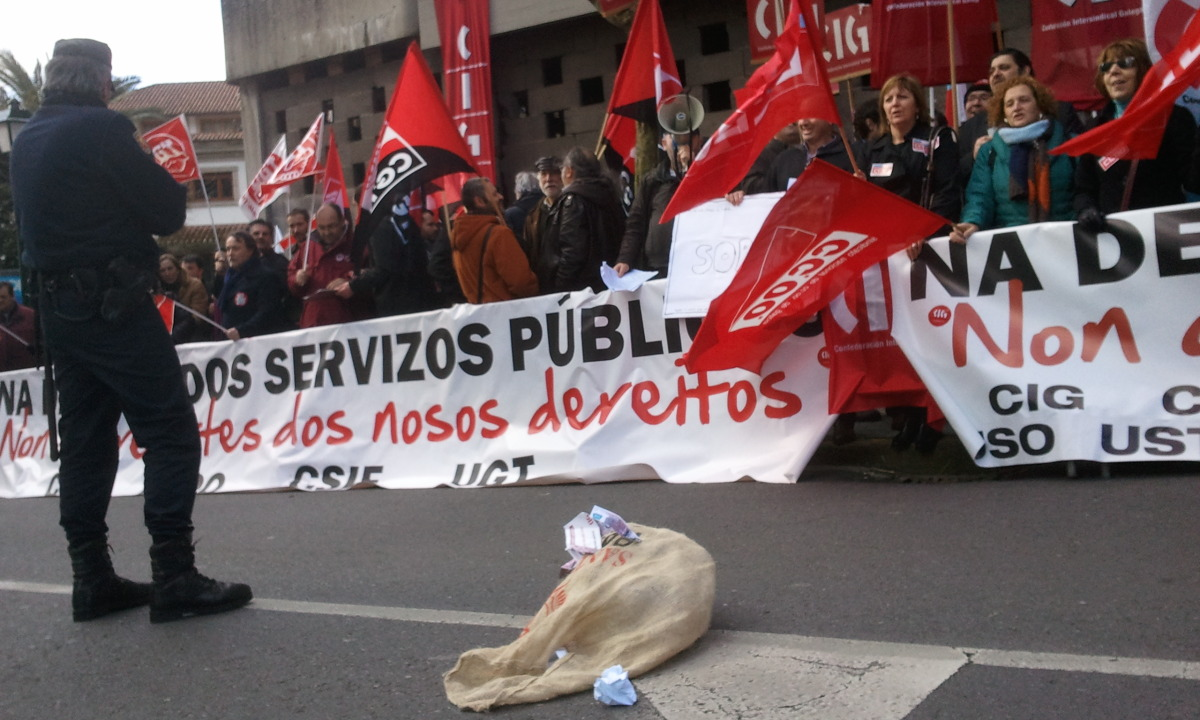 Protesta de persoal da Xunta contra os recortes