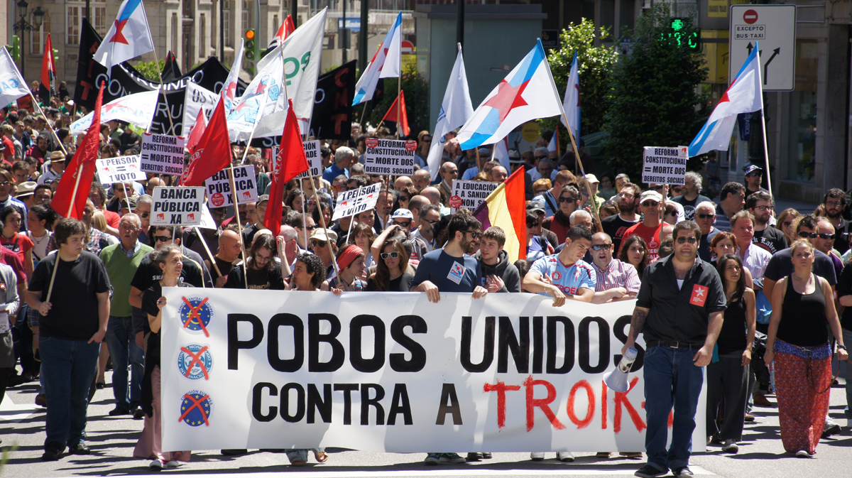 Cabeceira da manifestación en Vigo