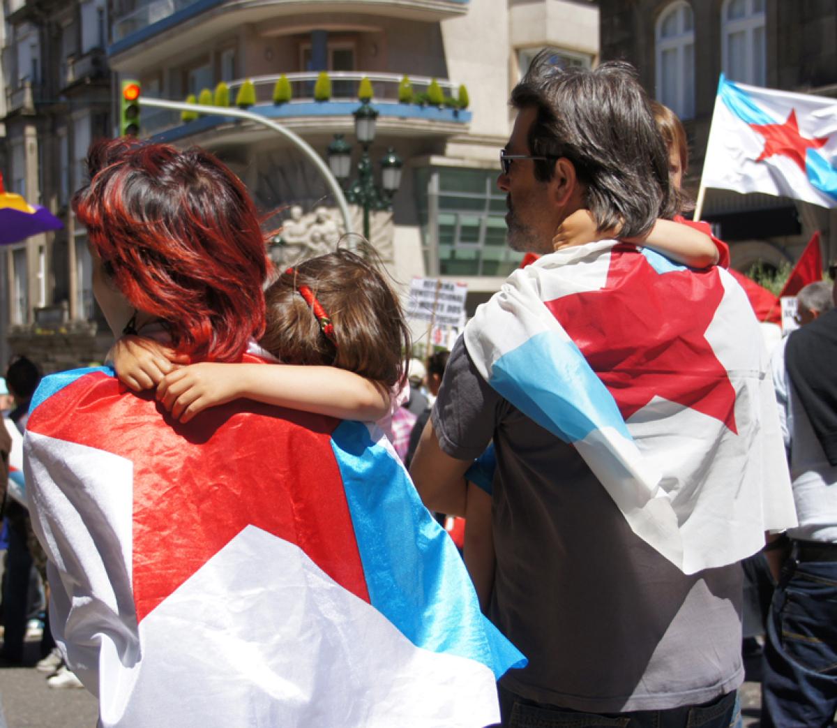 Manifestantes en Vigo