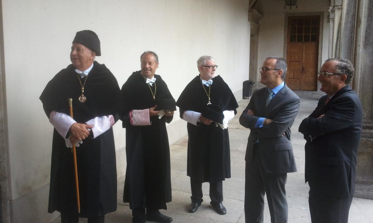 Os reitores, o conselleiro e o presidente do Consello Social da USC